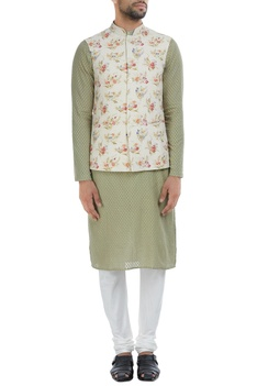 Self woven silk nehru jacket