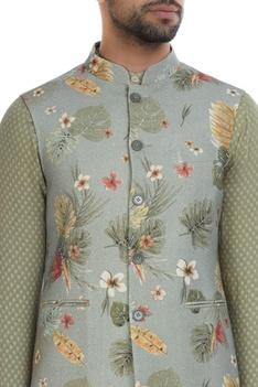 Floral printed nehru jacket