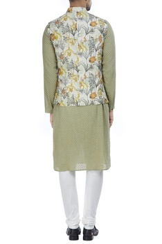 Artistic lily floral printed nehru jacket