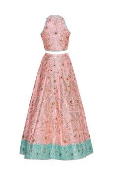 Sequin & pearl embroidered lehenga set