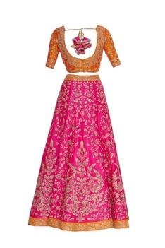 Raw silk zari embroidered lehenga set