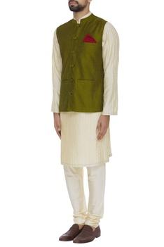 Hand textured spun silk waistcoat
