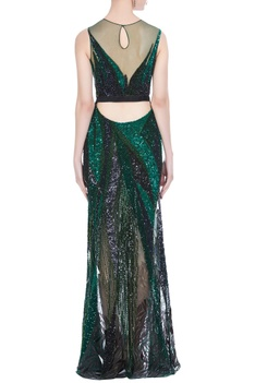 Acrylic hand embroidered gown