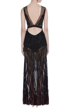 Hand embroidered sheer gown