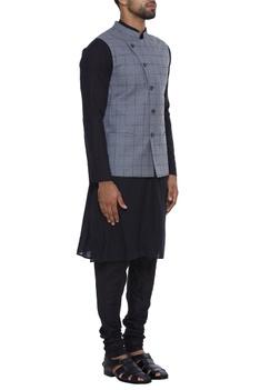 Cotton silk checkered jacket