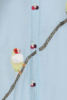 Embroidered kurta with bird motifs