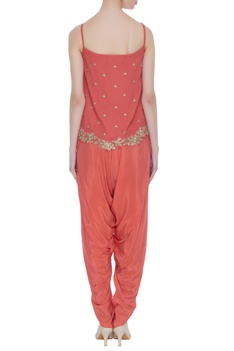 Embroidered top with draped dhoti pants