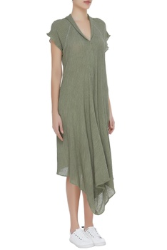 Cotton asymmetric crinkled tunic