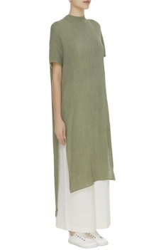 Crinkled high neck cotton tunic