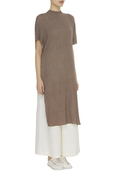High neck crinkled cotton tunic