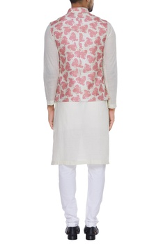 Printed nehru jacket with button placket