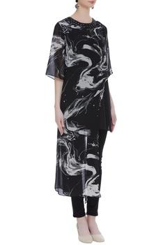 Printed asymmetric tunic