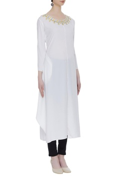 Crepe tunic with embellished neckline