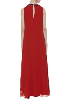 Sleeveless gown with embellished neckline