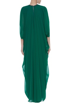 Layered gown with front slit