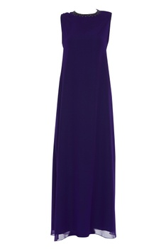 Sleeveless embellished gown with cape