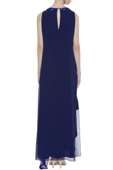 Stone embroidered sleeveless gown
