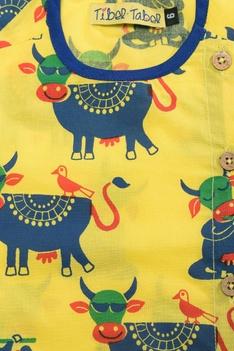 Cow printed kurta & dhoti set