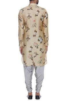 Floral printed cotton silk kurta
