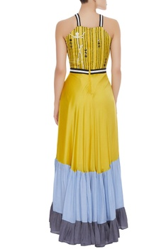 Paneled gown with embroidered yoke