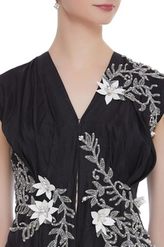 Floral embroidered  asymmetric dress