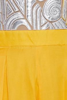 Cutwork applique yoke jumpsuit