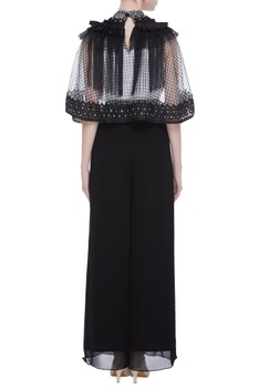 Block print cape with fringe detail