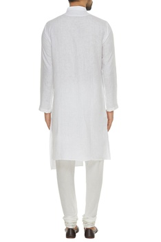 Linen asymmetric kurta with square buttons