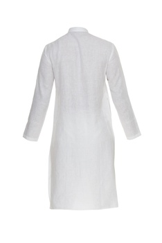 Linen embroidered kurta with metal buttons