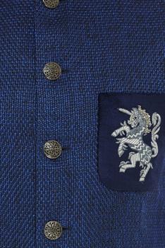 Unicorn embroidered motif jute jacket