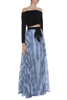 Off-shoulder blouse with block printed skirt