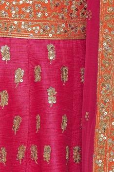 Zari embroidered lehenga set with net dupatta