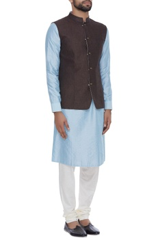 Reversible nehru jacket with utility pockets
