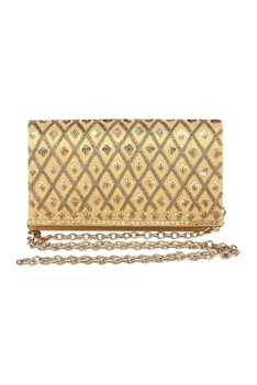 Sequin & bead clutch with detachable chain