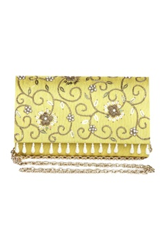 Sequin & pearl embellished festive clutch