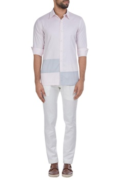 Color block cotton shirt