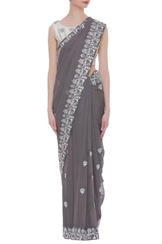 Georgette resham embroidered sari with blouse
