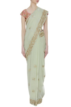 Floral resham embroidered sari with blouse