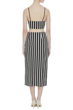 Stripe pattern crepe silk bustier with midi skirt