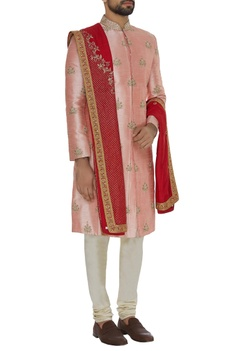 Embroidered sherwani with silk stole