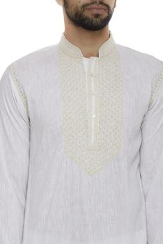 Organic linen kurta with hand embroidery