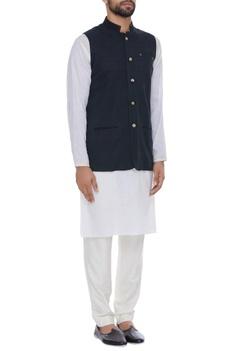 Hand embroidered organic silk nehru jacket