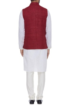 Organic silk nehru jacket with chain brooch