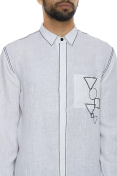 Organic linen silk shirt with running stitch embroidery