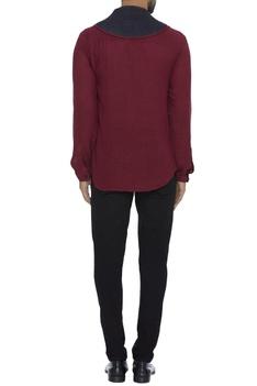 Quilted neckline organic silk shirt