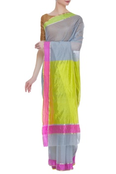 Handwoven pure chanderi sari & unstitched blouse