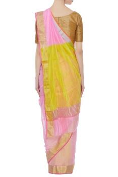 Dual colored pure chanderi sari & unstitched blouse