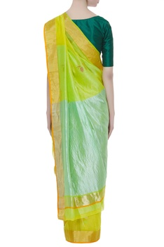 Pure chanderi floral sari with aqua blue palla