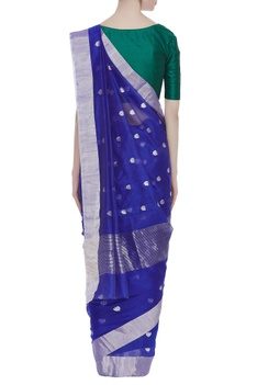 Pure chanderi sari with lotus motifs & unstitched blouse