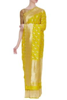 Parrot motif banarasi silk sari with unstitched blouse